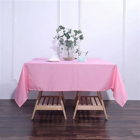 "70"" Pink Wholesale Polyester Square Linen Tablecloth For Wedding Party Restaurant"