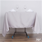 "70"" Silver Wholesale Polyester Square Linen Tablecloth For Wedding Party Restaurant"