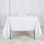"70"" White Wholesale Polyester Square Linen Tablecloth For Wedding Party Restaurant"