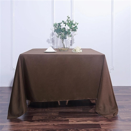 "90"" Chocolate Wholesale Polyester Square Linen Tablecloth For Banquet Party Restaurant"