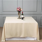 "90"" Beige Wholesale Polyester Square Tablecloth For Banquet Party Restaurant"