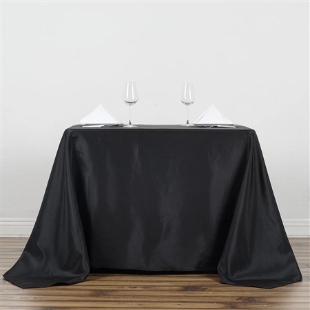 "90"" Black Wholesale Polyester Square Tablecloth For Banquet Party Restaurant"