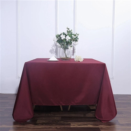 "90"" Burgundy Wholesale Polyester Square Linen Tablecloth For Banquet Party Restaurant"