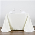 "90"" Ivory Wholesale Polyester Square Tablecloth For Banquet Party Restaurant"