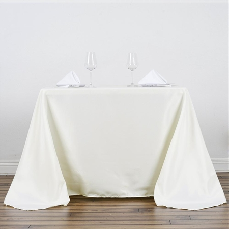 "90"" Ivory Wholesale Polyester Square Linen Tablecloth For Banquet Party Restaurant"