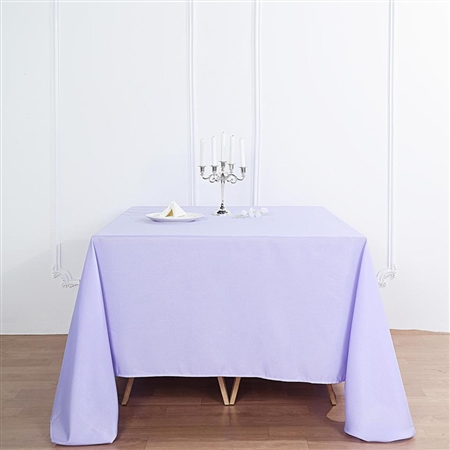 "90"" Lavender Wholesale Polyester Square Linen Tablecloth For Banquet Party Restaurant"