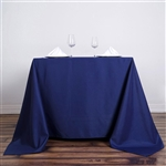 "90"" Navy Blue Wholesale Polyester Square Tablecloth For Banquet Party Restaurant"