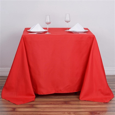 "90"" Red Wholesale Polyester Square Tablecloth For Banquet Party Restaurant"
