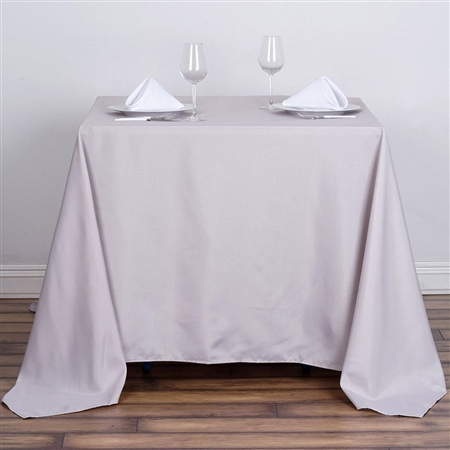 "90"" Silver Wholesale Polyester Square Tablecloth For Banquet Party Restaurant"