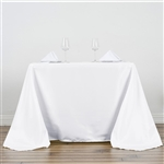 "90"" White Wholesale Polyester Square Tablecloth For Banquet Party Restaurant"