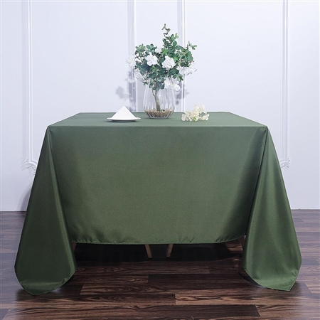"90"" Moss Green Wholesale Polyester Square Linen Tablecloth For Banquet Party Restaurant"