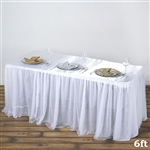 Satin with 3 Layer Tulle Wedding Rectangular Table Top - White - 6FT