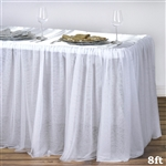 Satin with 3 Layer Tulle Wedding Rectangular Table Top - White - 8FT