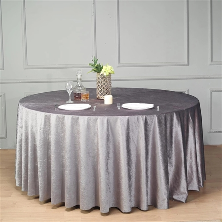 "120"" Econoline Velvet Round Tablecloth - Charcoal Grey"