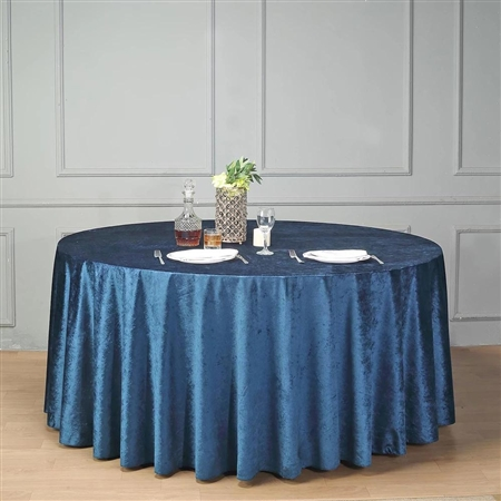 "120"" Econoline Velvet Round Tablecloth - Navy Blue"
