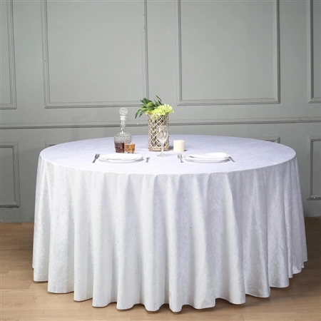"120"" Econoline Velvet Round Tablecloth - White"