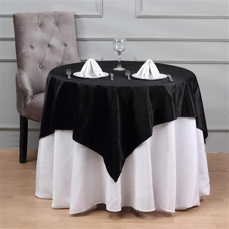 54'' x 54'' Econoline Velvet Table Overlay - Black