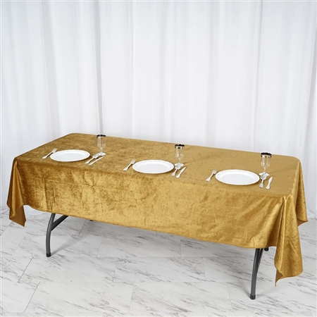 "60"" x 102"" Econoline Velvet Rectangle Tablecloth - Gold"