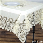 "54""x72"" Eco-Friendly Ivory 0.6mil Thick Waterproof Lace Vinyl Tablecloth Protector Cover"