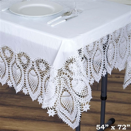 "54""x72"" Eco-Friendly White 0.6mil Thick Waterproof Lace Vinyl Tablecloth Protector Cover"