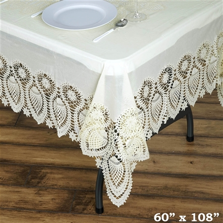 "60""x108"" Eco-Friendly Ivory 0.6mil Thick Waterproof Lace Vinyl Tablecloth Protector Cover"