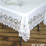 "60""x108"" Eco-Friendly White 0.6mil Thick Waterproof Lace Vinyl Tablecloth Protector Cover"