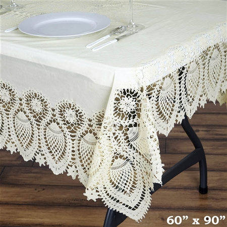 "60"" x 90"" Eco-Friendly Ivory Waterproof Lace Vinyl Tablecloth Protector Cover"