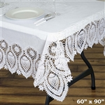 "60"" x 90"" Eco-Friendly White Waterproof Lace Vinyl Tablecloth Protector Cover"