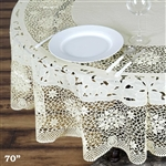 "70"" Eco-Friendly Ivory 0.6mil Thick Waterproof Lace Vinyl Round Tablecloth Protector Cover"