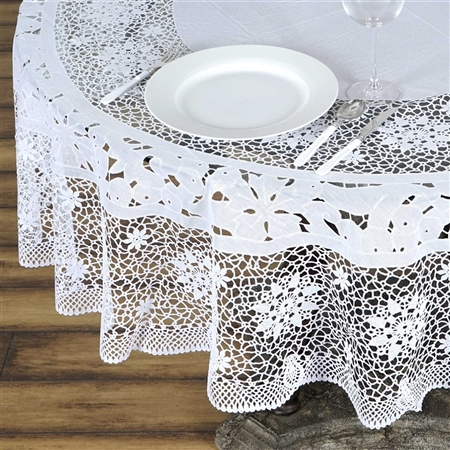 "70"" Eco-Friendly White 0.6mil Thick Waterproof Lace Vinyl Round Tablecloth Protector Cover"