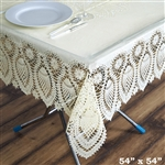 "54"" x 54"" Eco-Friendly Ivory 0.6mil Thick Waterproof Square Vinyl Tablecloth Protector Cover"