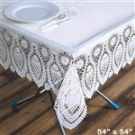 "54"" x 54"" Eco-Friendly White 0.6mil Thick Waterproof Square Vinyl Tablecloth Protector Cover"