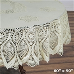 "60""x90"" Eco-Friendly Ivory 0.6mil Thick Waterproof Oval Vinyl Tablecloth Protector Cover"