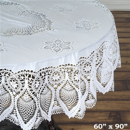 "60""x90"" Eco-Friendly White 0.6mil Thick Waterproof Oval Vinyl Tablecloth Protector Cover"