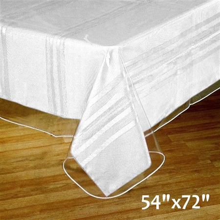 "54""x 72"" Eco-Friendly Clear Waterproof Vinyl Tablecloth Protector Cover"