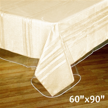 "60""x90"" Eco-Friendly Clear Waterproof Vinyl Tablecloth Protector Cover for Picnic"