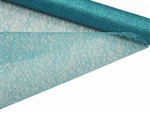 "Glittered Scrunch Roll Mesh - Turquoise 19"" x 5 yards"