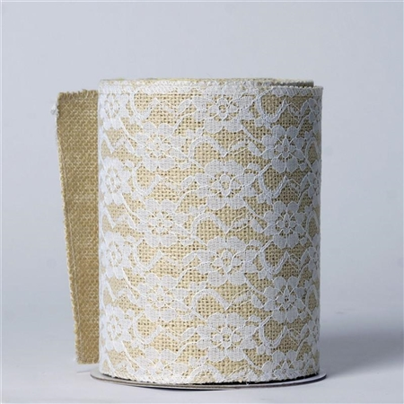"10 Yards 6"" Natural Floral Lace Stitched Burlap Jute Roll"