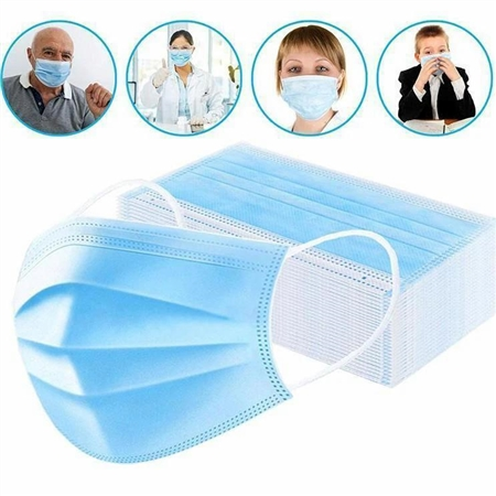 3 Ply Disposable Face Mask with Ear Loop - 50-Pack