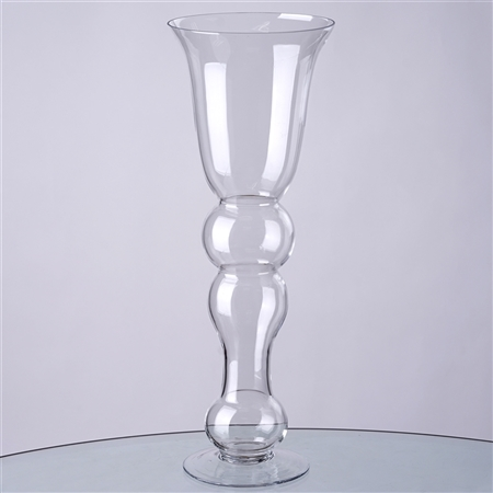 "20"" Tall Curvy Trumpet Pilsner Glass Floral Vase For Wedding Event Table Décor - Pack of 4"