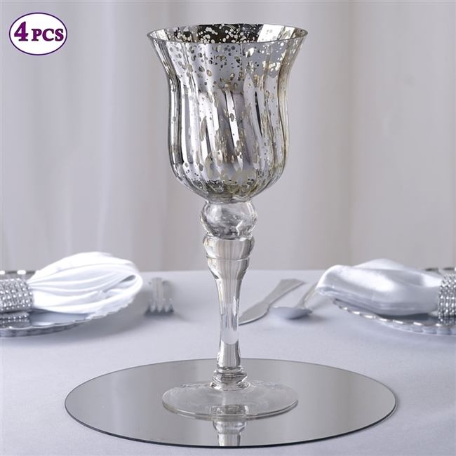 11 Tall Silvered Glass Candle Holder Vase Centerpiece