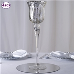 "15"" Tall Silvered Glass Candle Holder Vase Centerpiece For Wedding Event Table Décor - Pack of 4"