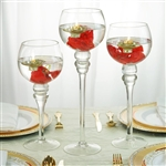 Clear Long Stem Globe Glass Vase Candle Holders - Set of 3