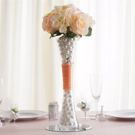 "15"" Clear Hourglass Shaped Floral Centerpiece Vase Wedding Party Decoration - Pack of 12"