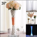 "20"" Clear Hourglass Shaped Floral Centerpiece Vase Wedding Party Decoration - Pack of 6"