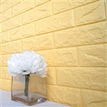 58 Sq. Ft Pastel Yellow 3D Faux Foam Bricks Self-adhesive Waterproof Art Wall Panel -  Pack of 10