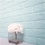 58 Sq. Ft Baby Blue 3D Faux Foam Bricks Self-adhesive Waterproof Art Wall Panel -  Pack of 10