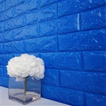58 Sq. Ft Royal Blue 3D Faux Foam Bricks Self-adhesive Waterproof Art Wall Panel -  Pack of 10