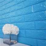 58 Sq. Ft Turquoise 3D Faux Foam Bricks Self-adhesive Waterproof Art Wall Panel -  Pack of 10