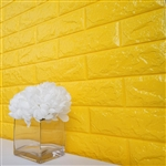 58 Sq. Ft Yellow 3D Faux Foam Bricks Self-adhesive Waterproof Art Wall Panel -  Pack of 10